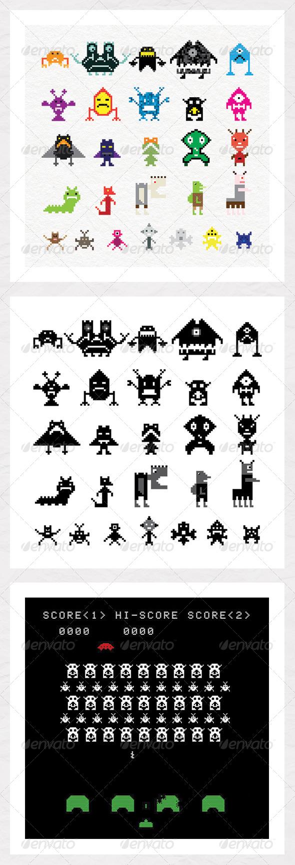GraphicRiver Pixel Creatures 5373902