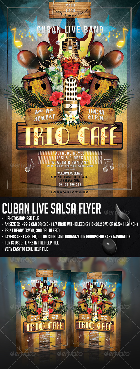 Cuban Live Salsa Flyer - Concerts Events