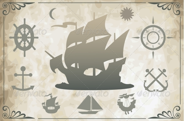 GraphicRiver Ancient Ships Vector 5375803