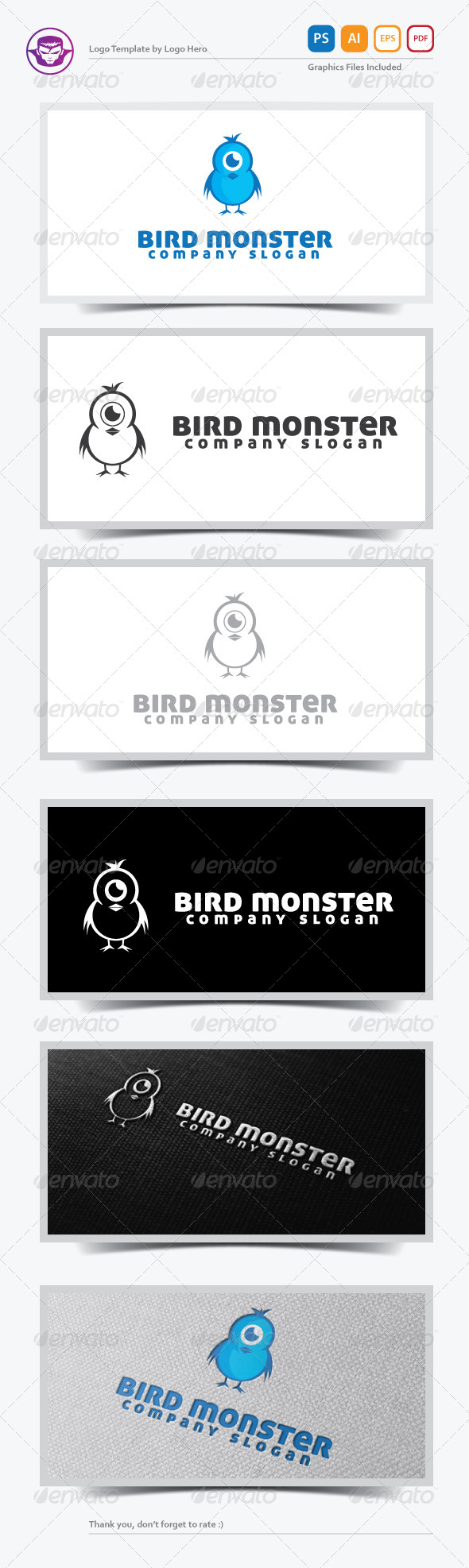 GraphicRiver Bird Monster Logo Template 5377144