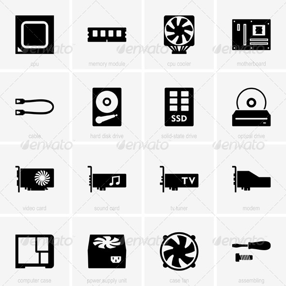 GraphicRiver Computer Component Icons 5377721