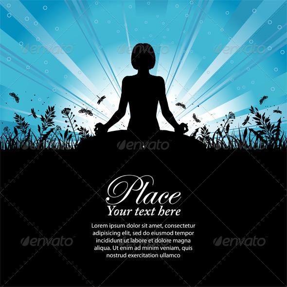 GraphicRiver Silhouette of a Girl in Yoga pose 552163