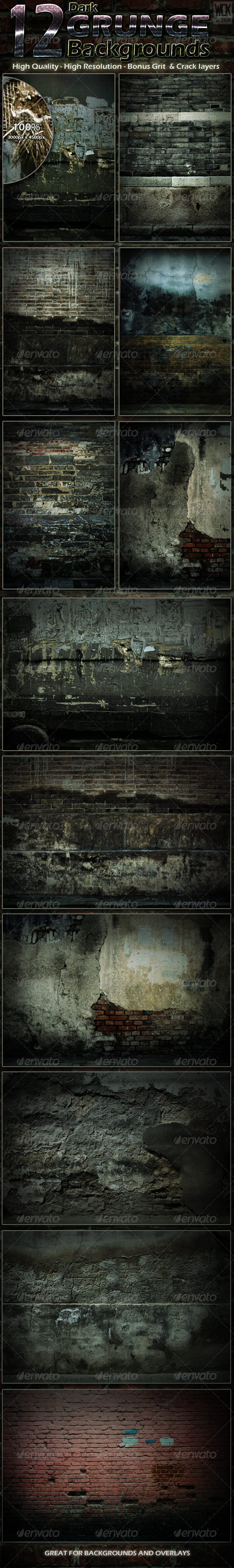 12 Dark Grunge Backgrounds - Backgrounds Graphics