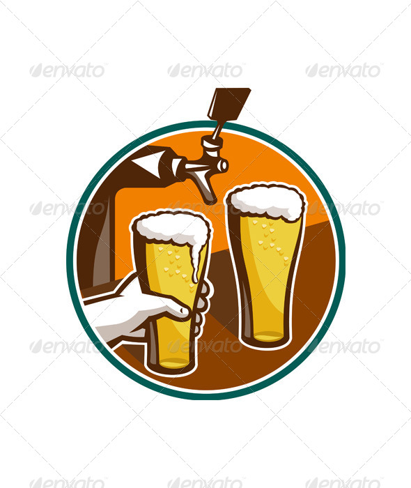 GraphicRiver Beer Pint Glass Hand Tap Retro 5380082