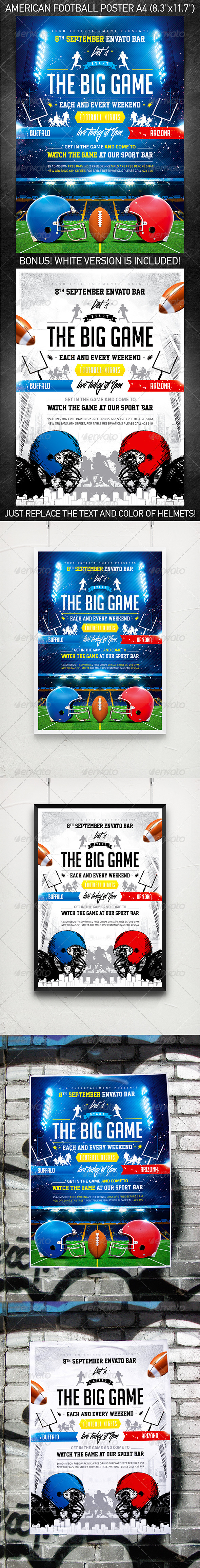 GraphicRiver American football The Big Game poster 5380084