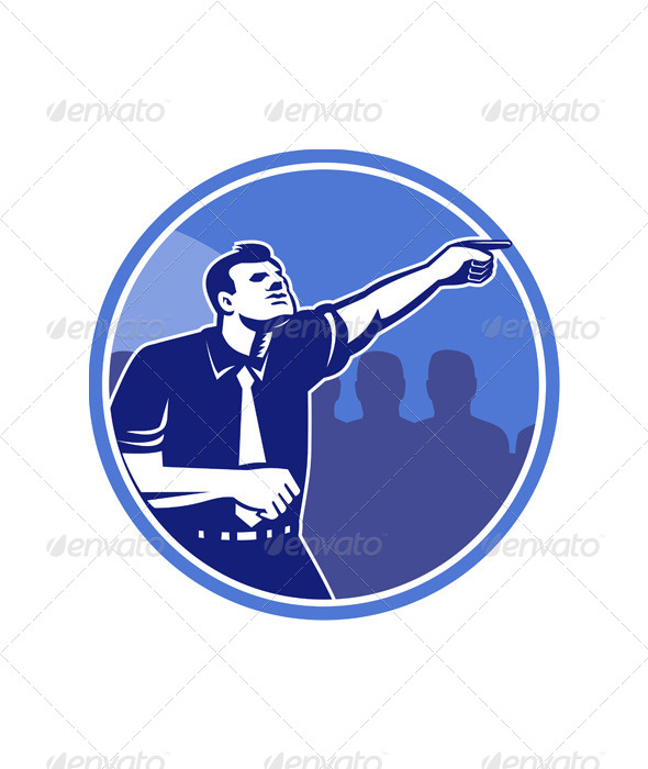 GraphicRiver Businessman Pointing Forward Woodcut 5380481
