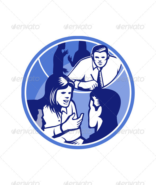 GraphicRiver Office Worker Businesswoman Discussion Woodcut 5380494