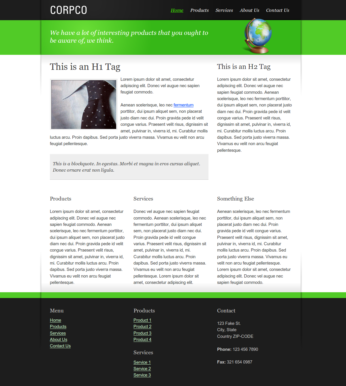 Slick Corporate - The entire home page, in green.  The column arrangement is easily configurable.