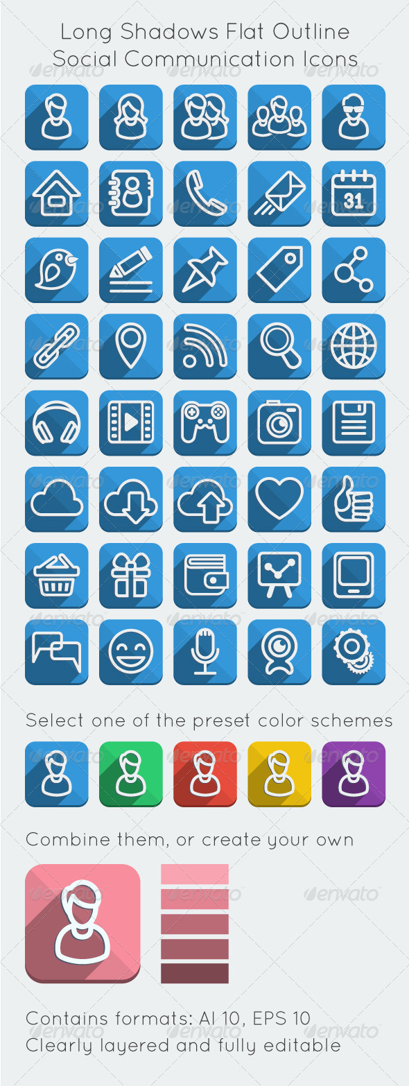 GraphicRiver Long Shadows Flat Outline Social Network Icons 5380714