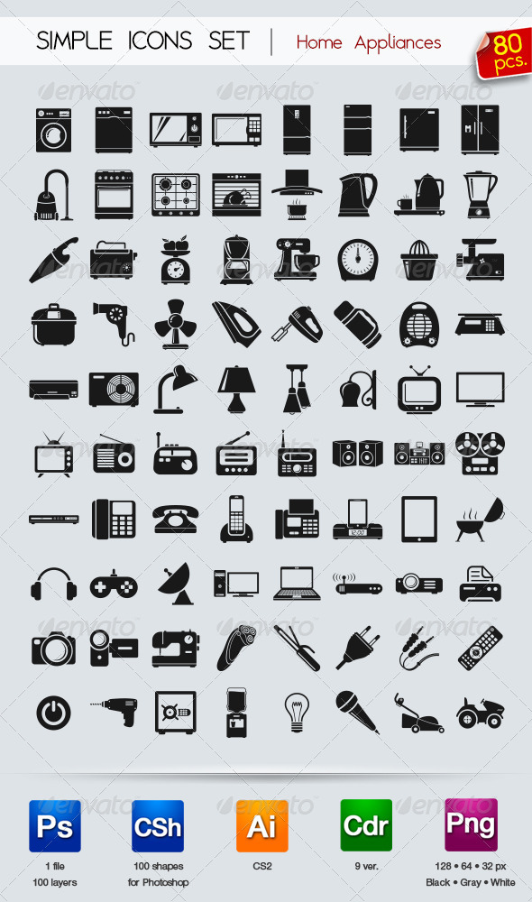 GraphicRiver 80 Simple icons Appliances 5381731