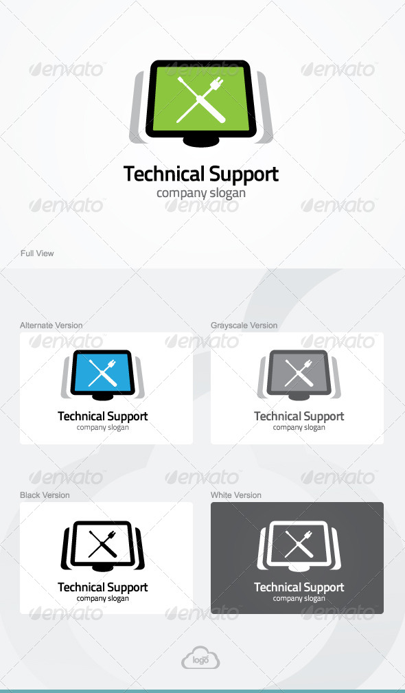 GraphicRiver Technical Support Logo Template 5382484