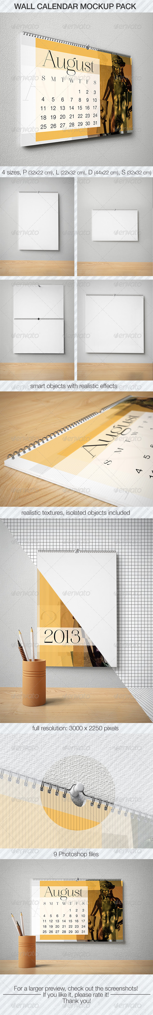 GraphicRiver Wall Calendar Mockup Pack 5383966