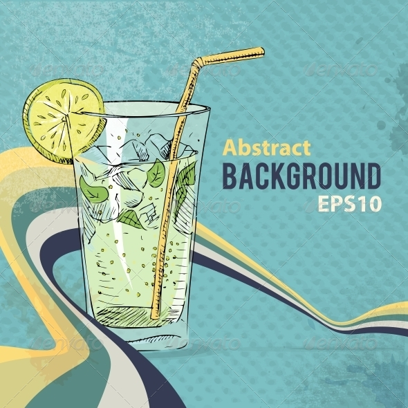 GraphicRiver Retro Background with Soda Cocktail Glass 5384320