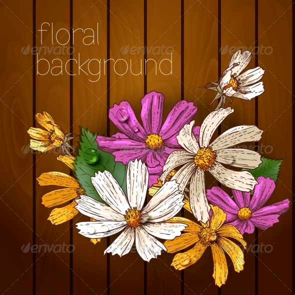 GraphicRiver Flowers on a Wooden Texture 5385037