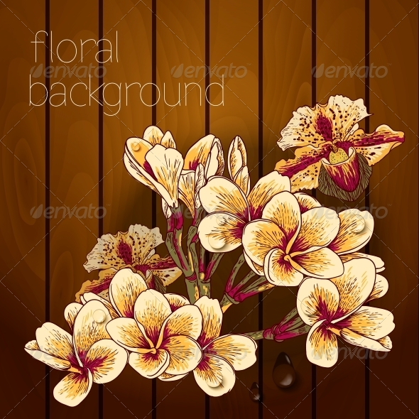 GraphicRiver Flowers on a Wooden Texture 5385040