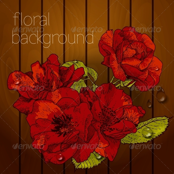 GraphicRiver Flowers on a Wooden Texture 5385051