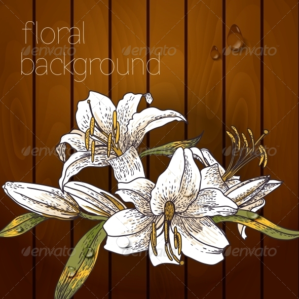 GraphicRiver Flowers on a Wooden Texture 5385054