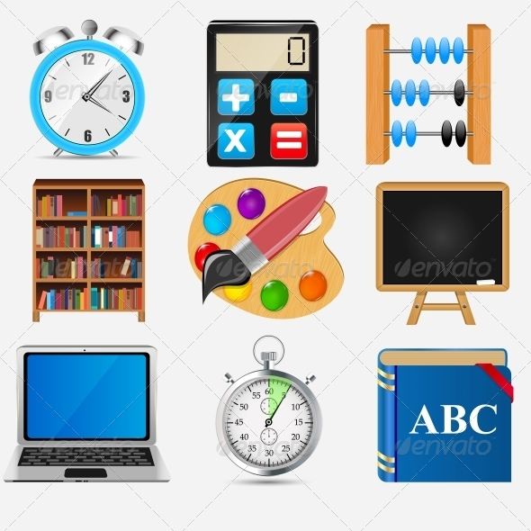 GraphicRiver Different School Icon Vector Illustration Set 2 5385074