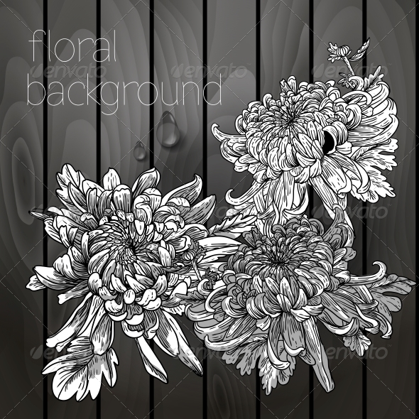 GraphicRiver Flowers on a Wooden Texture 5385078