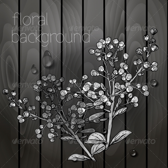 GraphicRiver Flowers on a Wooden Texture 5385082