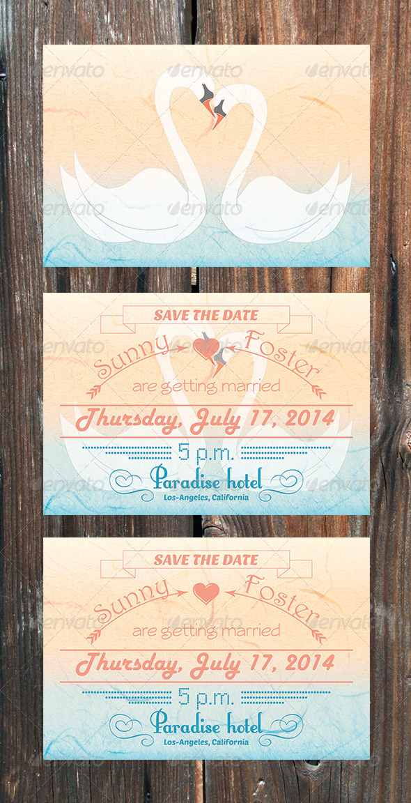 GraphicRiver Swans Save The Date Card 5385870