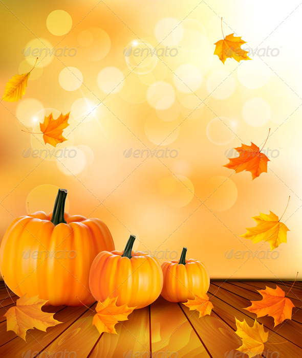 GraphicRiver Pumpkins on Wooden Background with Leaves 5386038