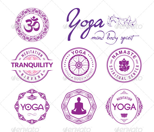 GraphicRiver 7 Yoga Related Stamps and Seals 5386178