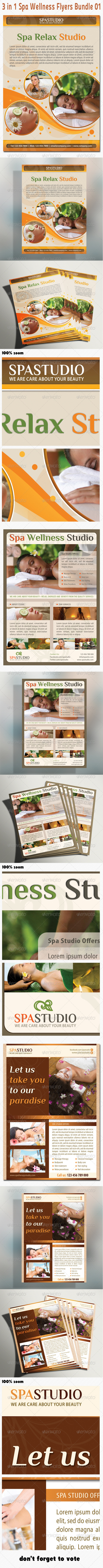 GraphicRiver 3 in 1 Spa Wellness Flyers Bundle 01 5387840