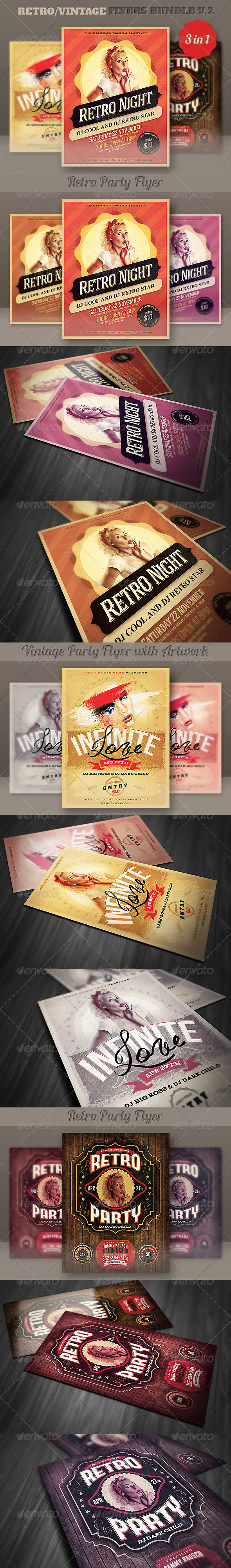 GraphicRiver Retro Flyers Bundle v.2 5388857