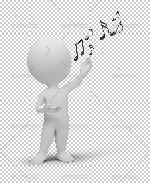 GraphicRiver 3D small people singer and notes 5388935