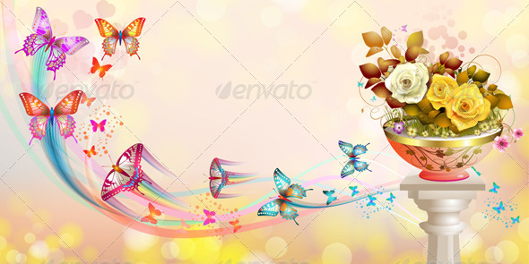 GraphicRiver Roses and Butterflies 5389574