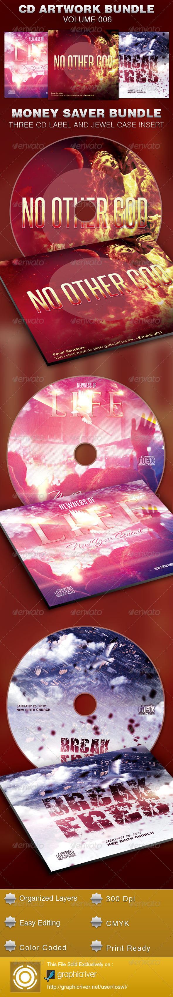 CD Cover Artwork Bundle-Vol 006 - CD & DVD artwork Print Templates