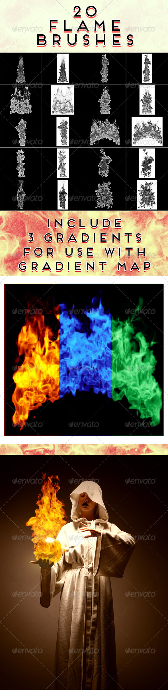 GraphicRiver 20 Flame Brushes 5392535
