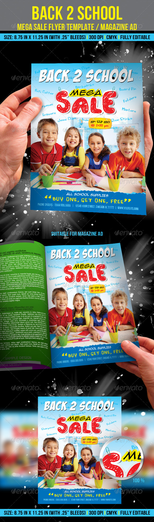 GraphicRiver Back to School Mega Sale Flyer Template Magazine 5356068