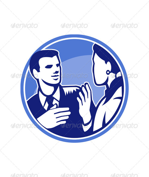 GraphicRiver Office Worker Businessman Discussion Woodcut 5393698