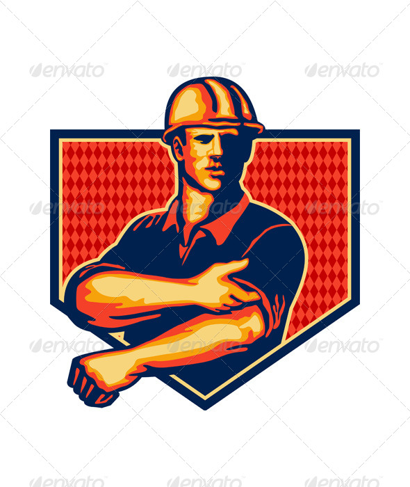 GraphicRiver Construction Worker Rolling Up Sleeve Retro 5393724
