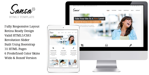 Sansa Responsive HTML5 Template  - Business Corporate
