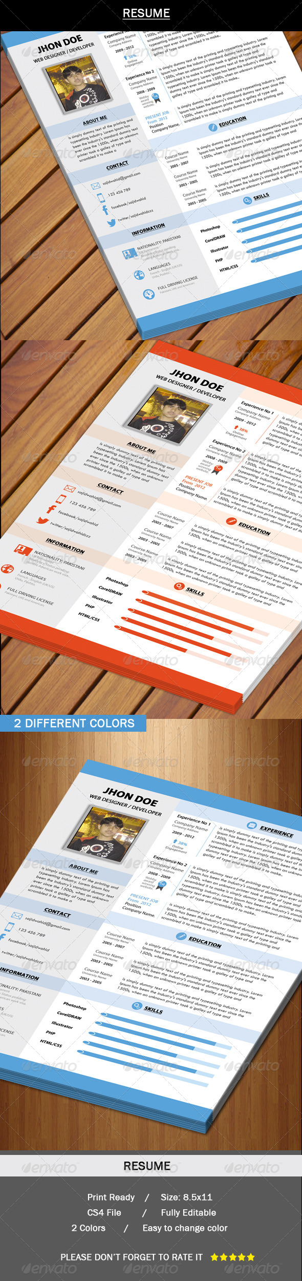 GraphicRiver Resume New Swiss Style 5395064