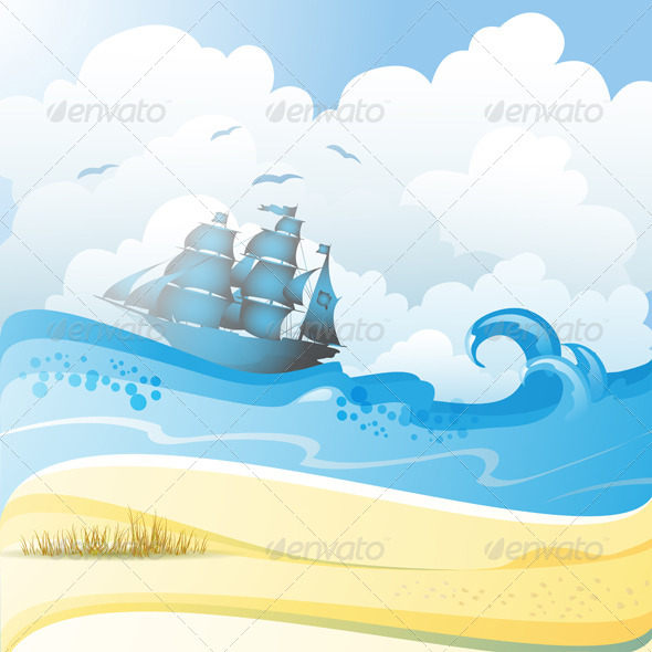 GraphicRiver Ship on the Sea 5395940
