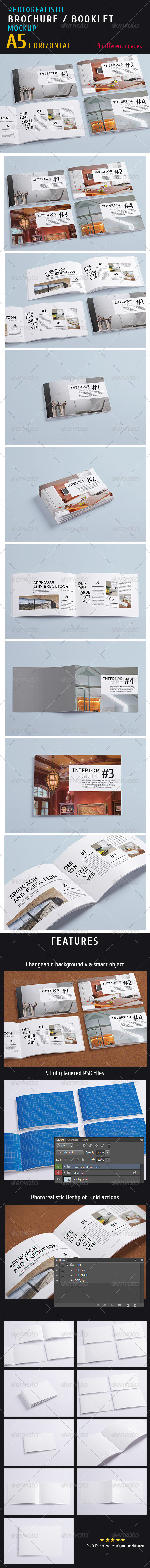 GraphicRiver Photorealistic a5 Horizontal Magazine Mock-up 5397657