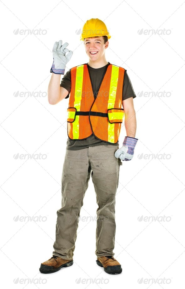 Happy construction worker - Stock Photo - Images