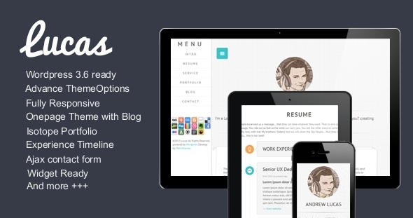 ThemeForest Lucas Resume  Blog  Portfolio  WordPress 5398472