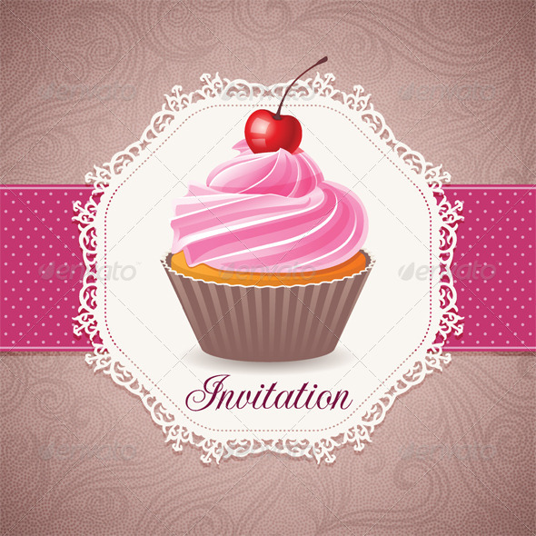 GraphicRiver Vintage Card with Cupcake 5400111