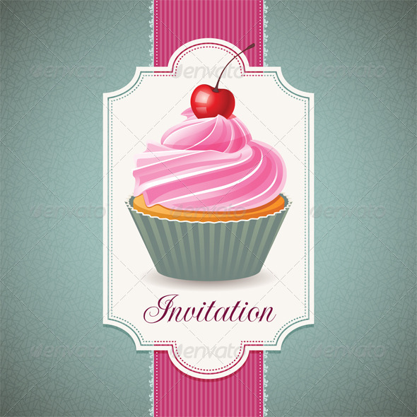 GraphicRiver Vintage Card with Cupcake 5400136