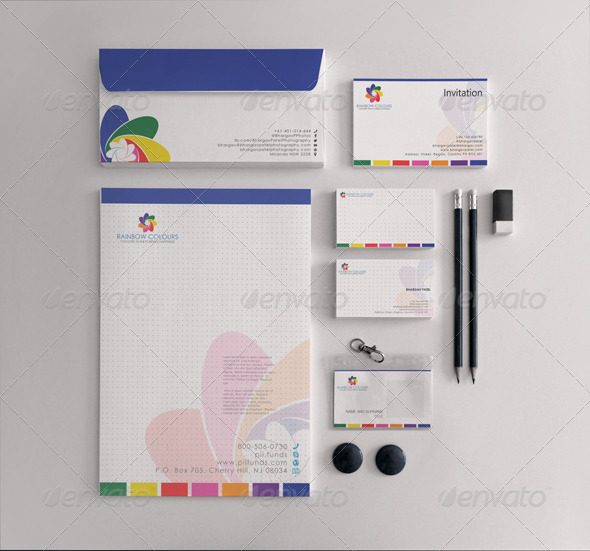GraphicRiver Rainbow Seven Colours Stationary 5400541