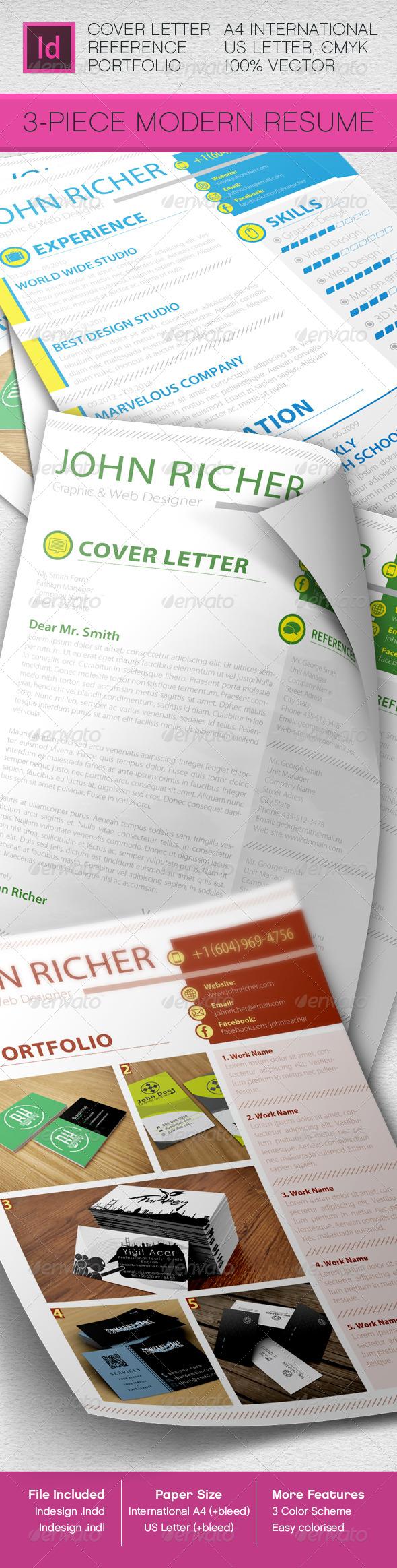 GraphicRiver 3-Piece Modern Rezume CV 5361051
