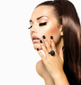Beauty Fashion Girl with Long Hair. Trendy Caviar Black Manicure - PhotoDune Item for Sale