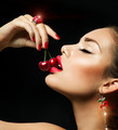 Sexy Woman Eating Cherry. Sensual red Lips with Cherries - PhotoDune Item for Sale
