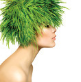 Beauty Spring Woman with Fresh Green Grass Hair - PhotoDune Item for Sale