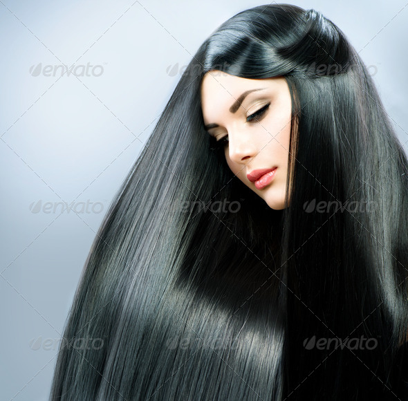 Long Straight Hair. Beautiful Brunette Girl - Stock Photo - Images